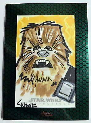 2015 Topps Star Wars Chrome Perspectives Chewbacca Sketch Card by Dan Smith