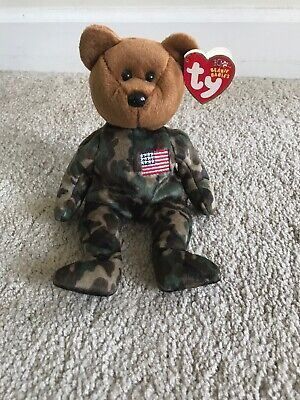 0c0e4c05d68 TY BEANIE BABY - HERO the USO Military Bear (w  US Flag on Chest ...