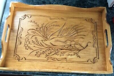Hand Carved Wood Serving Tray floral scrolling and peacock w/ handle