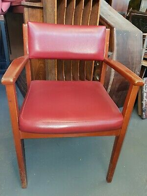 Mid Century Office Desk Chair With Arms Carver Red Vinyl Wooden Solid Frame