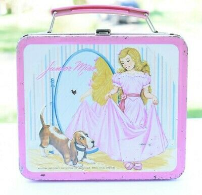 Junior Miss Aladdin Pink Metal Lunchbox with Thermos 1978
