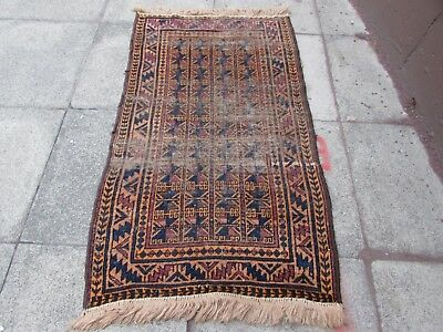 Antique Traditional Hand Made Oriental Afghan Wool Brown Rug 146x86cm