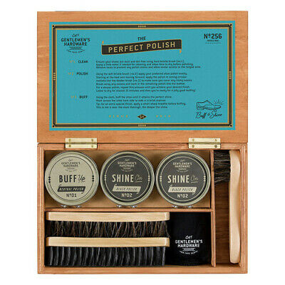 Gentlemen's Hardware Vintage English Design Wooden Sturdy Shoe Shine Cigar Box