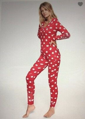 c4fa9d5eccf Victorias Secret PINK Red sleep one piece onesie pajama dots bling Size L  NEW!