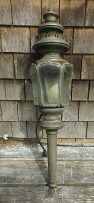 (ESTATE)   LARGE ANTIQUE 33 INCH COACH LAMP w BEVEL GLASS LENSES GREAT CONDITION