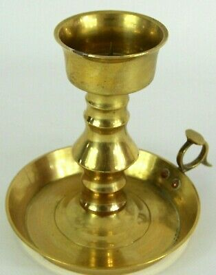 Large Wee Willie Winkie Holder Vintage Brass Chamberstick RIVETED LOOP JOINT