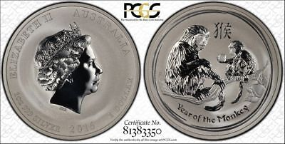 PCGS Secure 2016-P Australia YEAR OF THE MONKEY $1 MS69 Silver 1oz Ag 30th Label
