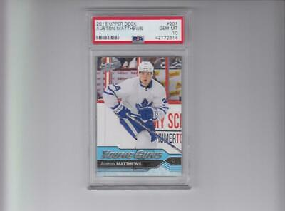 "2016-17 Upper Deck #201 Auston Matthews Young Guns Rookie Graded Psa 10 ""Gem Mt"""
