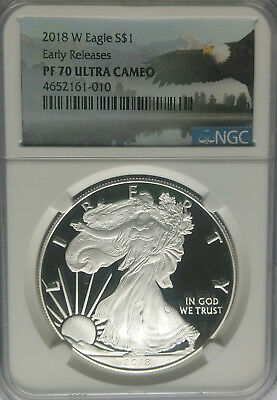 NGC PF70 2018-W Proof American Silver Eagle $1 Early Releases US Mint 1oz Coin *