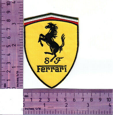 Ferrari Prancing Horse Logo, Embroidered Heat Sealed Cloth Patch