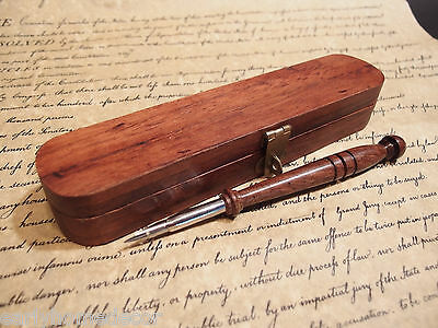 Vintage Antique Style Turned Wood Inkwell Ink Dip Quill Desk Writing Pen w Box