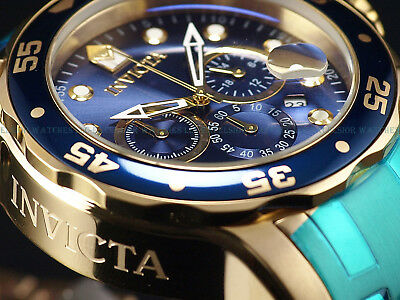 NEW Invicta Mens 48mm Scuba Pro Diver Chronograph 18K Gold IP Blue Dial SS Watch