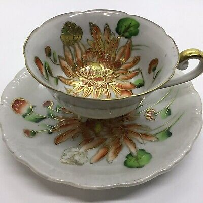 Collectible Vtg  Trimont Handpainted Raised Gilded Cup & Saucer/ Occupied Japan