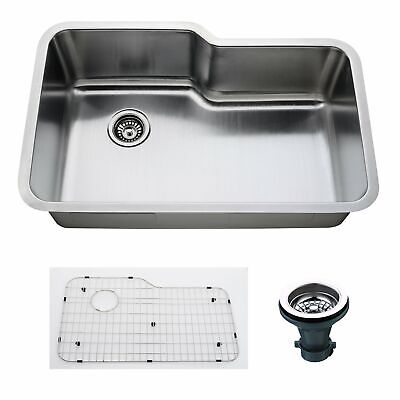 Empire 32 Inch Undermount Single Bowl 16 Gauge Stainless Steel Kitchen Sink with
