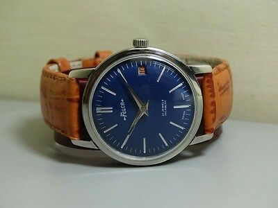 Vintage Felca Date Winding Swiss Made Wrist Watch Blue e658 Old Used Antique