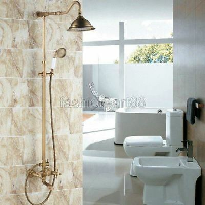 Antique Brass Bathroom Rain Shower Faucet Set Dual Cross Handles Tub Tap frs102
