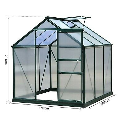 Outsunny 6x6ft Walk-In Polycarbonate Greenhouse Plant Grow Galvanized Aluminium2