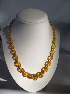 Vintage Art Deco Ladies Amber Coloured Cut Glass Beads Costume Jewelry Necklace