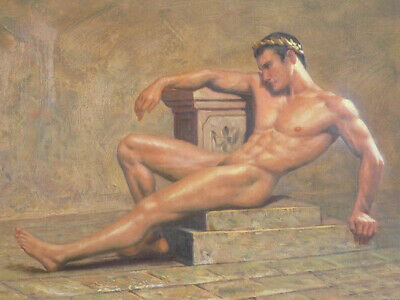 "Hand Painted Portrait Oil Painting On Canvas : ""Nude Male"" 24""x36"" 68498"