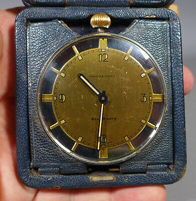 Fine Art Deco Swiss Made Doxa 8 Day Travel Clock Fortnum & Mason Leather Case