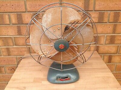 Vintage Blue Pye Oscillating 2 Speed Fan With Metal Blades, Collectable