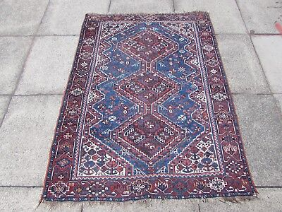 Antique Traditional Hand Made Persian Oriental Wool Blue Small Rug 154x114cm