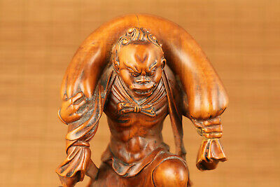 Big chinese old antique boxwood hand carved evil statue netsuke cool decoration