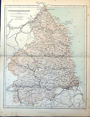 Antique Old Print Map Northumberland Blyth Rothbury Shill Moor Hexham Wooler
