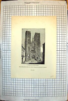 Old Print Church St. Gudule Brussels Tall Columned Arches Clock 1843 229J 19th