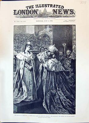 Old 1896 Coronation Czar Crowning Ceremony Kissing Mother Dowager Emp Victorian
