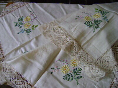 Stunning Vintage Tablecloth Hand Embroidered Flowers And Lace Edge, Unused