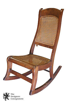 Early American Antique Walnut Burl Rocking Chair Rocker Cane Seat Victorian