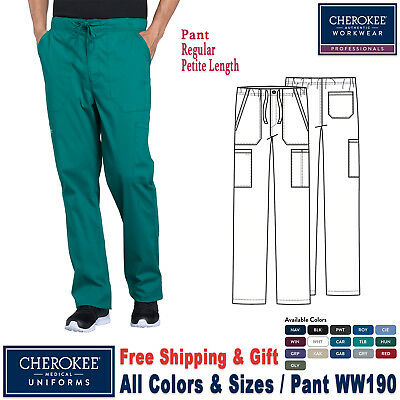 Cherokee Scrubs PROFESSIONAL Men's Drawstring Cargo Pants_WW190_Regular Petite