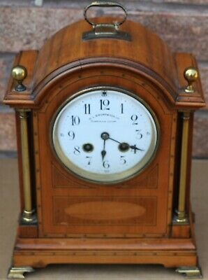 Fab Looking Old Wooden Inlaid G Megnin Bracket Clock With Brass Pillars