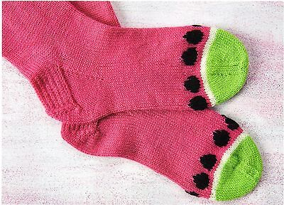 ~ Pull-Out Knitting Pattern For Watermelon Socks, Case & Pineapple Coin Purse  ~