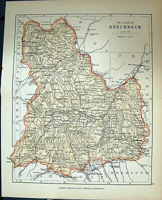 Original Old Antique Print County Brecknock Wales Philips Map 1882 Victorian