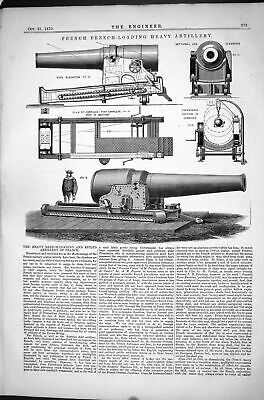 Antique Old Print French Breech-Loading Heavy Artillery 1870 Rifled Elevation