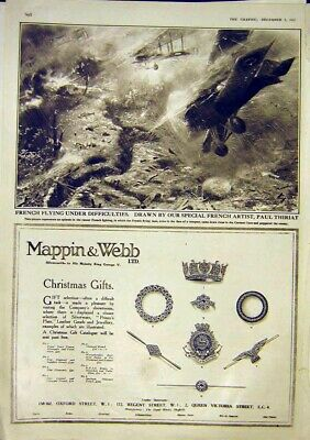 Original Old Vintage Print Advert Mappin Webb French Aeroplane Thiriat War 1917