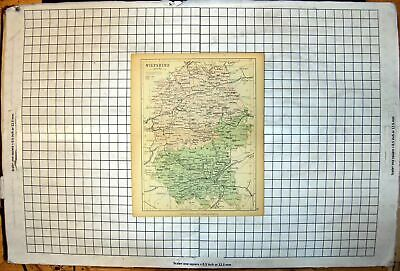 Antique Old Print County Wiltshire Map Malmsbury Swindon Melksham Salisbury