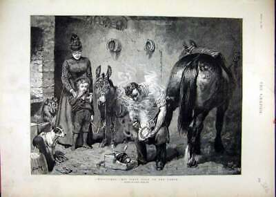 Original Old Antique Print 1890 Forge Man Shoes Horse Mother Child Watching Dog