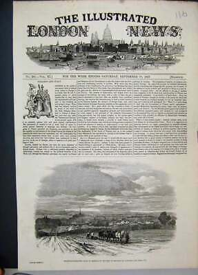 Original Old Antique Print 1847 Stratford Upon Avon Horses Ploughing Field 19th