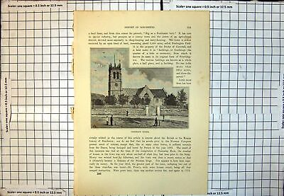 Antique Print Fordington Church Square Clock Tower Village Green Dorset 201J