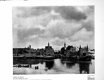 Old Vintage Print View Delft By Jan Vermeer Delft Dutch Exhibition 1929 20th
