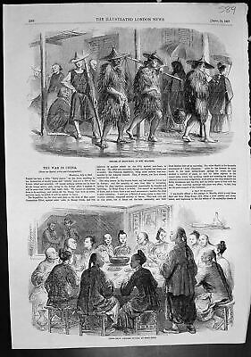 Antique Old Print Coolies Hong Kong Wet Weather Chow Chow Chinese Supper 1857