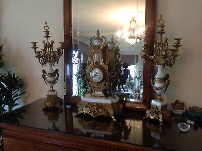 Brevettato Imperial Clock and Candelabra Set. Made In Italy