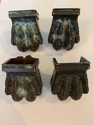 Fine 2x Pairs Of Antique Victorian Brass/Bronze LIONS CLAW Furniture Castors