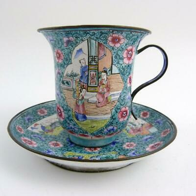 19th CENTURY CHINESE CANTON ENAMEL MUG WITH SAUCER