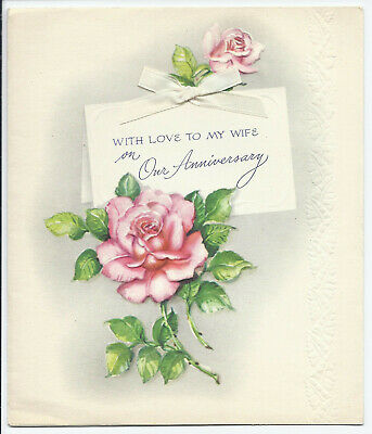 VTG WEDDING ANNIVERSARY Greeting Card Best Wishes Pink Ribbon