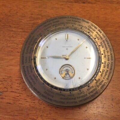 Vintage Brass Marshall Field 8 Day Swiss Desk/ World Time  Clock, Working