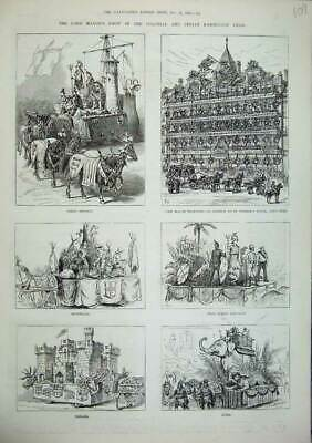 Old Antique Print 1886 Lord Mayor Indian Exhibition Canada India Britain 19th